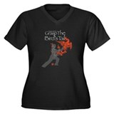 Tai Chi Fire Phoenix Women's Plus V-Neck Dark Tee