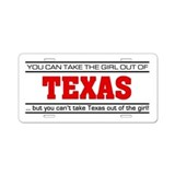 'Girl From Texas' Aluminum License Plate