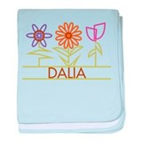 Dalia with cute flowers baby blanket