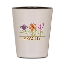 Aracely with cute flowers Shot Glass