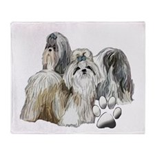 two shih tzus Throw Blanket