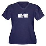 AD/HD Women's Plus Size V-Neck Dark T-Shirt