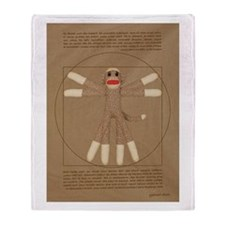 Vitruvian Sock Monkey Throw Blanket