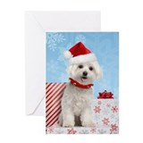 Maltese Puppy Christmas Greeting Card