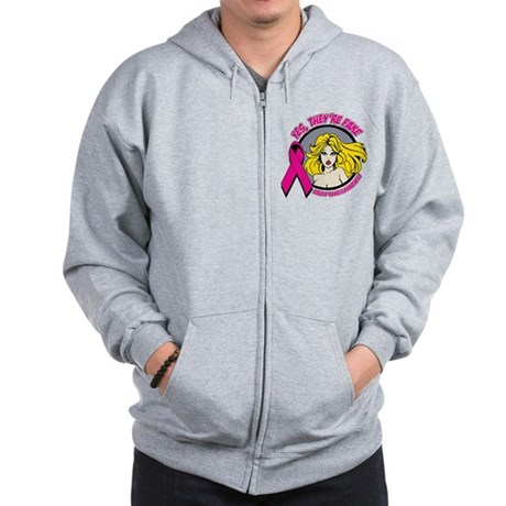 Blonde Girl Fake Breast Cancer Zip Hoodie