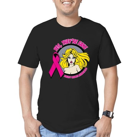 Blonde Girl Fake Breast Cancer Men's Fitted T-Shir