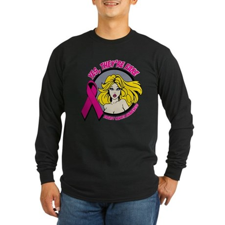 Blonde Girl Fake Breast Cancer Long Sleeve Dark T-