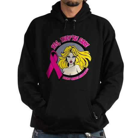 Blonde Girl Fake Breast Cancer Hoodie (dark)