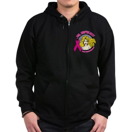 Blonde Girl Fake Breast Cancer Zip Hoodie (dark)