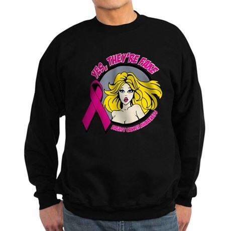 Blonde Girl Fake Breast Cancer Sweatshirt (dark)