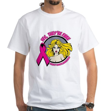 Blonde Girl Fake Breast Cancer White T-Shirt