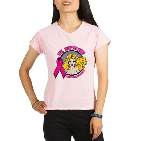 Blonde Girl Fake Breast Cancer Performance Dry T-S