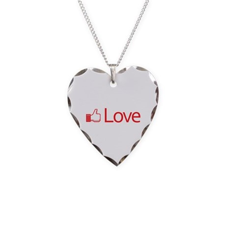 Love Button Necklace with Heart Charm
