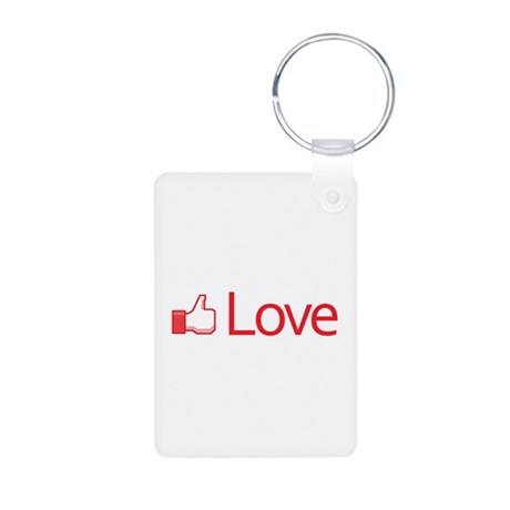 Love Button Aluminum Rectangle Keychain