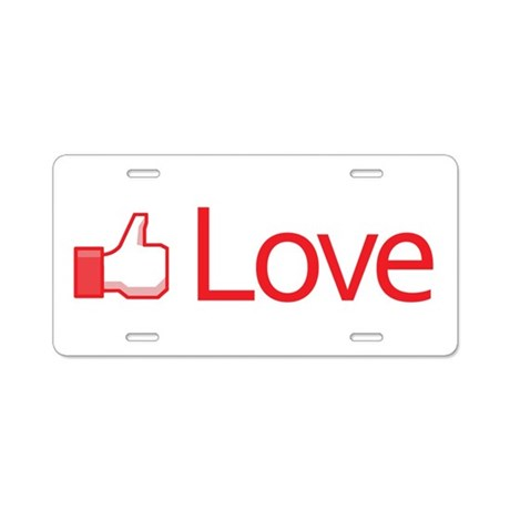 Love Button Aluminum License Plate