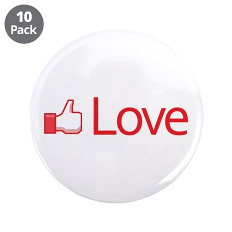 Love Button 3.5 Inch Buttons ~ Pack of 10