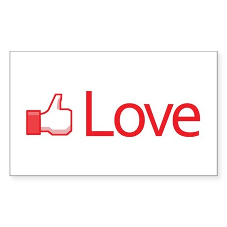 Love Button Rectangle Sticker