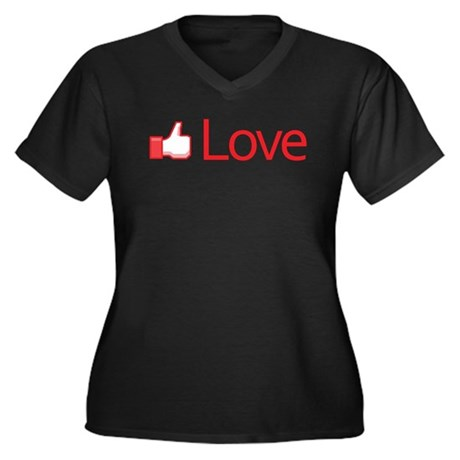 Love Button Women's Plus Size V-Neck Dark T-Shirt