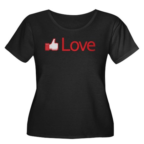 Love Button Women's Plus Size Scoop Neck Dark T-Shirt