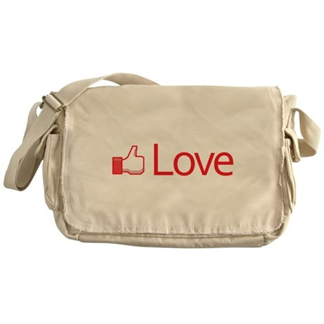 Love Button Canvas Messenger Bag
