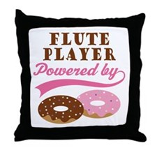 Flute Player Powered By Donuts Throw Pillow