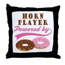 Horn Player Powered By Donuts Throw Pillow