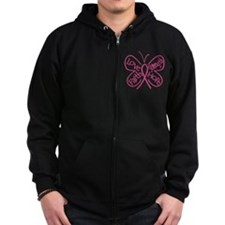 Breast Cancer Butterfly Hope Zipped Hoodie