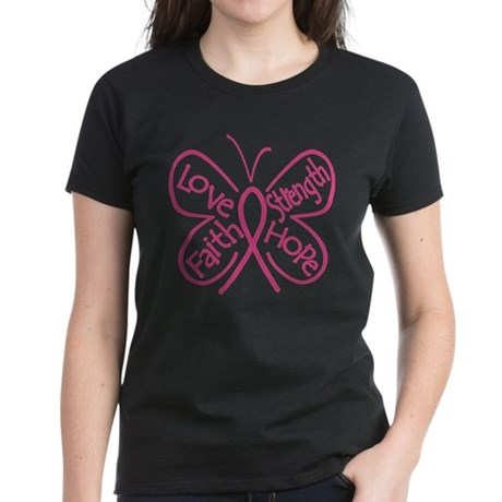 Breast Cancer Butterfly Hope Women's Dark T-Shirt