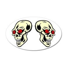 Red Eyed Skulls 38.5 x 24.5 Oval Wall Peel
