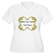 Gold Color Scrolls, Custom Text T-Shirt