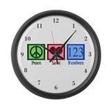 Peace Love Numbers Large Wall Clock