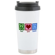 Peace Love Numbers Ceramic Travel Mug
