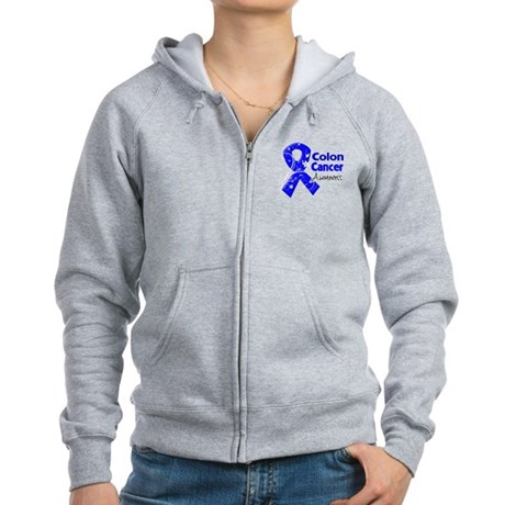 Colon Cancer Awareness Women's Zip Hoodie