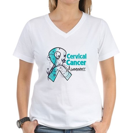 Cervical Cancer Awareness Women's V-Neck T-Shirt