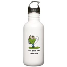 Golf Cartoon, Custom Text Water Bottle