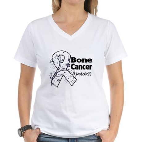 Bone Cancer Awareness Women's V-Neck T-Shirt