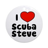 I Love Scuba Steve Ornament (Round)