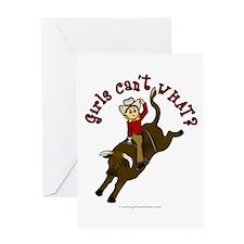 Light Bull Riding Greeting Card