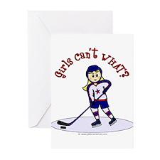 Blonde Hockey Girl Greeting Cards (Pk of 10)