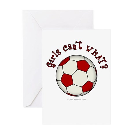 Red Soccer Ball Greeting Card