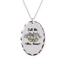Custom Just Married (Mrs. Name) Necklace Oval Char