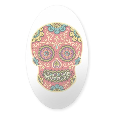 Red Sugar Skull Sticker (Oval)