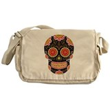 Black Sugar Skull Messenger Bag