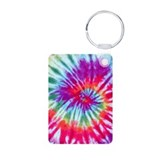 Pink Spiral Aluminum Photo Keychain