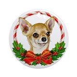 Chihuahua Wreath Ornament (Round)