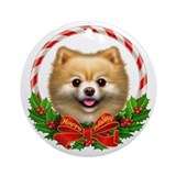 Pomeranian Wreath Ornament (Round)