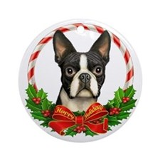 Boston Wreath Ornament (Round)