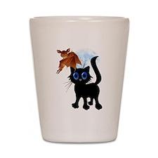 Trick or Treat Black Kitty an Shot Glass