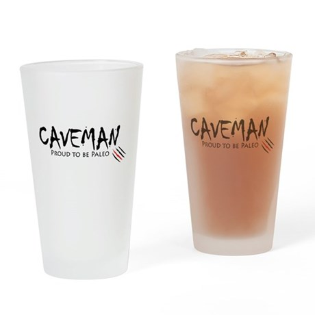Caveman Drinking Glass
