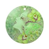 Green Fairy Ornament (Round)